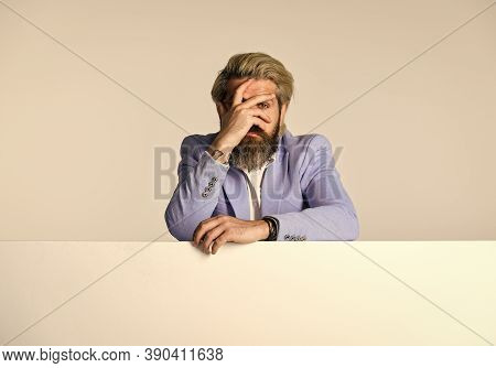 Portrait Of Businessman. Business Man Wearing Formal Clothes Stand Behind Banner. Businessman Lean O