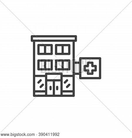 Medical Hospital Building Line Icon. Linear Style Sign For Mobile Concept And Web Design. Pharmacy B
