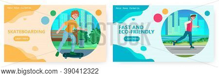 Skater Boy In A Park On Skateboard And Rollers. Skate Sport And Urban Lifestyle Vector Concept Illus