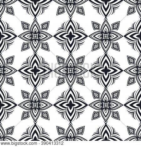 Abstract Black And White Ornament, Oriental Curve Swirls Seamless Pattern With Flowers And Curls, Op