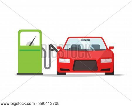 Car Automobile Refueling On Gas Fuel Station Icon Vector Flat Cartoon Illustration, Vehicle Refillin