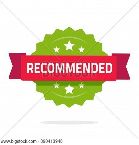 Recommended Rosette Icon Vector Flat Cartoon, Recommendation Stamp Green Red Color With Ribbon Isola