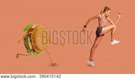 Slim Lady Running Away From Unhealthy Burger Losing Weight Exercising Over Pink Background. Hamburge