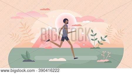 Running Activity As Male Physical Sport Training Exercise Tiny Person Concept. Trail Run In Outdoors