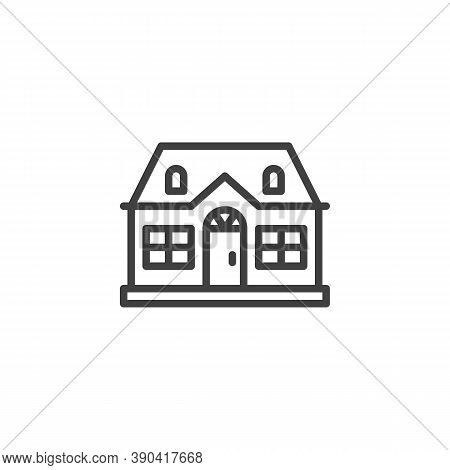 Cottage House Building Line Icon. Linear Style Sign For Mobile Concept And Web Design. Suburban Hous