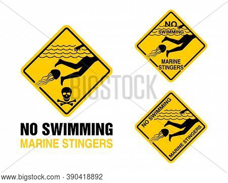 No Swimming - Dangerous Marine Stingers (deadly Poisonous Jellyfish) Warning Prohibit Sign For Beach