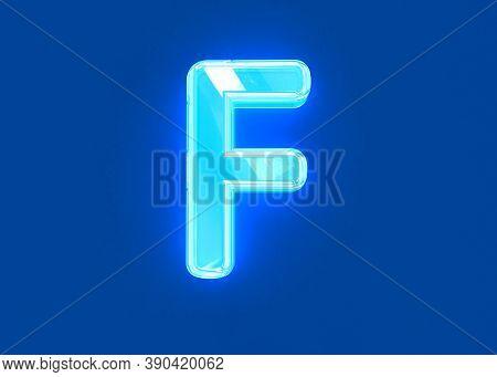 Blue Shiny Neon Light Glassy Transparent Alphabet - Letter F Isolated On Dark Blue, 3d Illustration