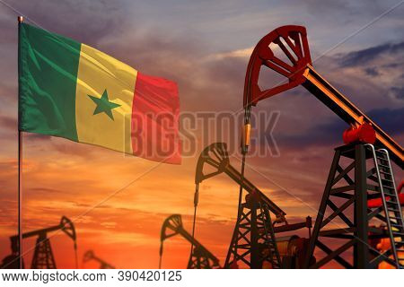 Senegal Oil Industry Concept, Industrial Illustration. Senegal Flag And Oil Wells And The Red And Bl