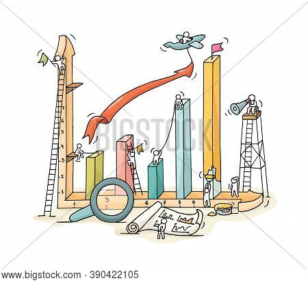 Sketch Of Graph Construction With Working Little People, Loupe, Arrow. Doodle Cute Miniature Of Buil