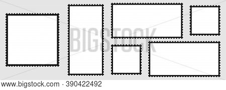 Postage Stamps. Blank Postage Stamps Collection. Dark Postage Stamp, Isolated. Vector Illustration.