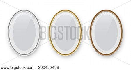 Oval Podium Frames. Golden, Silver And Bronze Borders Isolated On White Background. Vector Illustrat