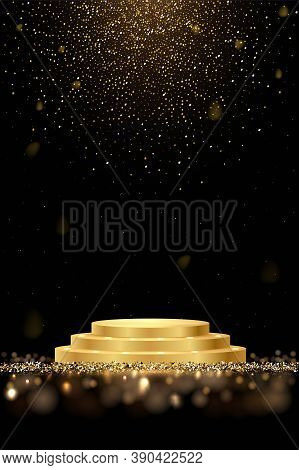 Golden Award Round Podium With Shiny Glitter And Sparkles Isolated On Dark Background. Vector Realis