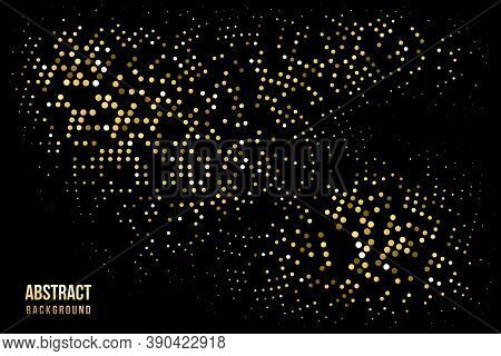 Abstract Halftone Circular Background. Gold, Grey, Amber Dot Pattern On Black Background. Bright Vin