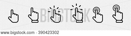 Cursor Click Collection. Cursor Computer Mouses, Isolated On Transparent Background. Clicking Cursor
