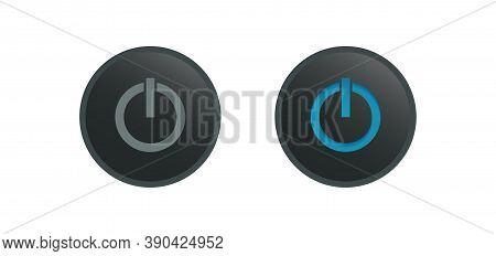 Turn On And Turn Off Black Buttons Isolated On White Background. Switch Symbol. Toggle Icon Template