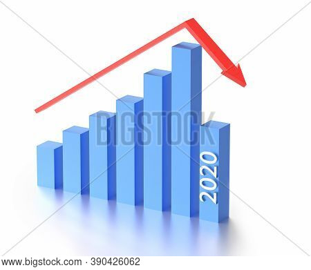 Business And Bankruptcy Concept. Bankrupt Graph And Arrow With Recession In 2020 Year. 3d Rendering