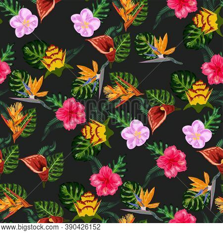 Seamless Tropical Pattern With Palm, Monstera Leaves And Many Flowers Of Hibiscus, Sterlitz, Tropica