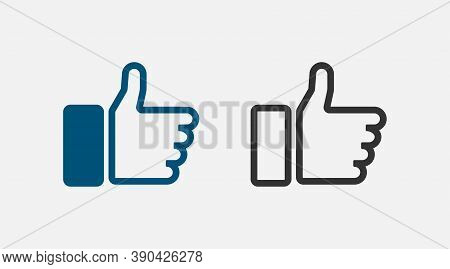 Like. Like Vector Icon. Thumbs Up In Line Design. Vector Illustration