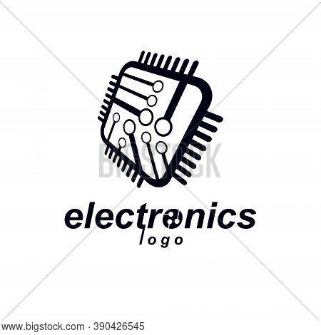 Futuristic Cybernetic Scheme, Vector Black And White Motherboard. Digital Element, Square Circuit Bo