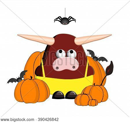 The Bull Is A Symbol Of 2021. Zodiac Taurus. Year Of The Calf. Ox Character Is Cute. Isolated On A W