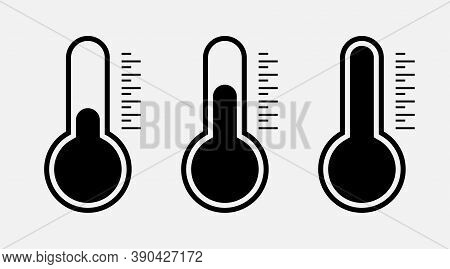 Temperature Icons. Thermometer Symbols. Temperature Scale. Thermometer. Weather Sign. Hot And Cold T