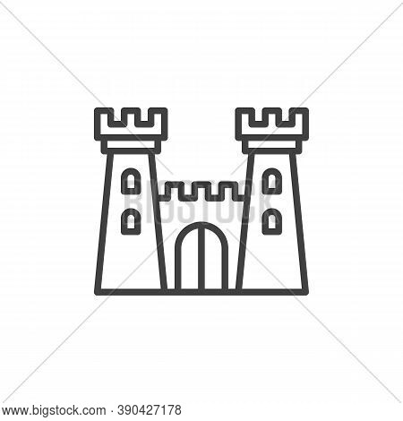 Fortress Towers Line Icon. Linear Style Sign For Mobile Concept And Web Design. Castle Tower Outline