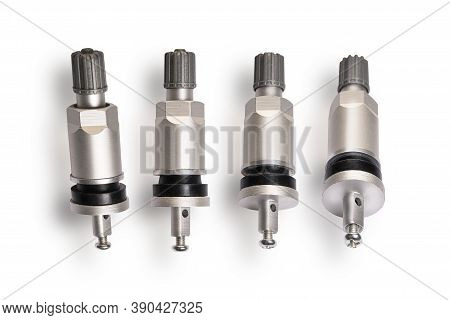 Valve Sensor Tmps For Monitoring The Tire Pressure Level, Set Of 4 Pieces Close - Up On A White Back