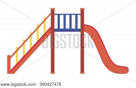 Game Red Slide With Stairs, Railing. Slide Down The Hill. Game Children S Equipment. Playground Slid