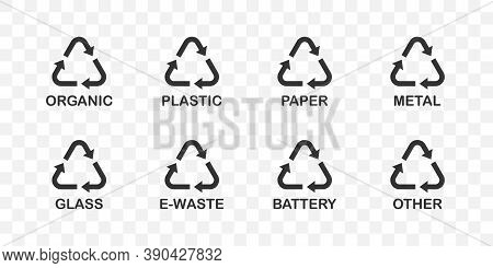 Recycle Symbols. Recycle Vector Icons Organic, Plastic, Paper, Metal, Glass, E-waste, Battery And Ot