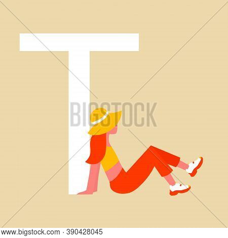 Girl In Hat Rests In The Shade Of A Capital Letter T. A Flat Cartoon Character With An Upper Case Le