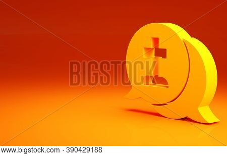 Yellow Man Graves Funeral Sorrow Icon Isolated On Orange Background. The Emotion Of Grief, Sadness,
