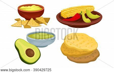 Mexican Dish With Crumpets And Guacamole With Nacho Vector Set