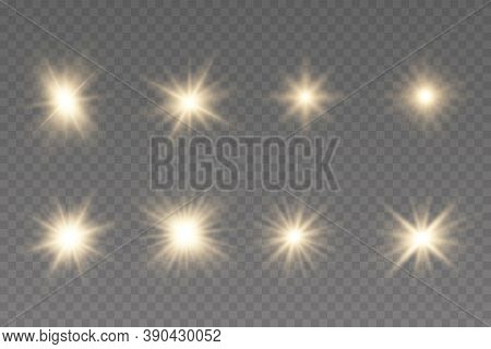 Shining Star, The Sun Particles And Sparks With A Highlight Effect, Golden Bokeh Lights Glitter And