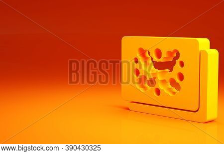 Yellow Rorschach Test Icon Isolated On Orange Background. Psycho Diagnostic Inkblot Test Rorschach.