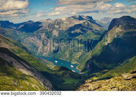 Fjord Geiranger From Dalsnibba Viewpoint, Norway