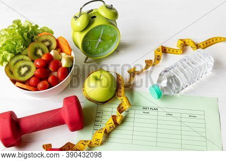 Diet Health Plan. Workout Planing For Stay At Home. Sport Exercise Equipment Workout Andgym Backgro
