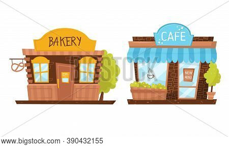 Shop Window Or Store Front With Bakery And Cafe Vector Set