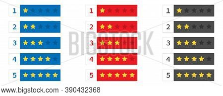 Rating Review Stars. Set Of Yellow Stars From One To Five. Isolated Rank Classification. Feedback Ev