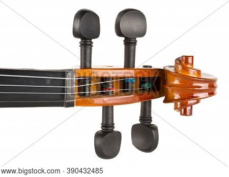 Close Up Macro Of Scroll On Brown Wooden Fiddle Or Violin, Classic Musical Instrument, Isolated On W