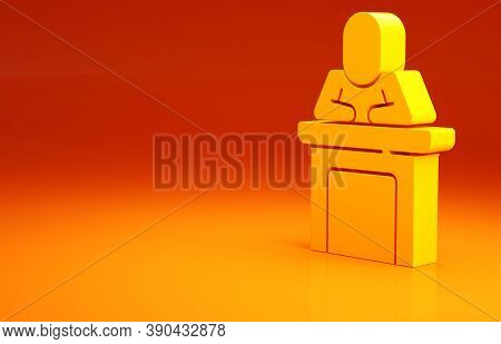 Yellow Speaker Icon Isolated On Orange Background. Orator Speaking From Tribune. Public Speech. Pers