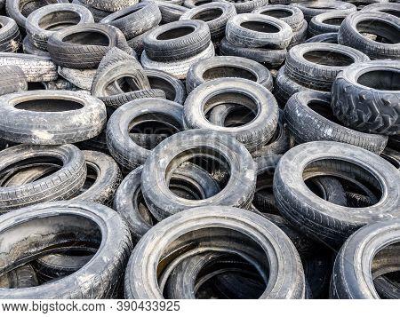 Large Pile Of Tires Dump, Illegal Garbage Dump.