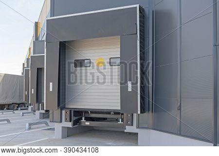 Loading Dock Cargo Door At Distribution Warehouse