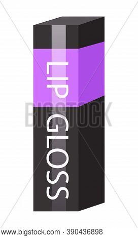 Lip Gloss Package Isolated At White. 3d Icon With Black And Violet Colors And Text. Cosmetics Concep