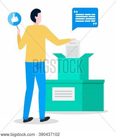 Feedback Of Customers Or Users To Author, Young Man With Like Sign, Social Network, Boxes With Post,