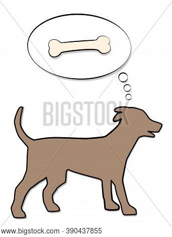 Dog Thinking Of Bone In Thought Balloon, Symbolic For Hunger, Reward, Desire Or Instinct. Isolated C