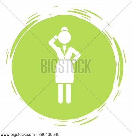 Businesswoman Green Cirlce Portrait, Stamp Style, Thinking Businessperson, Thoughtful Woman Avatar L