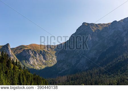 Tatra Mountains Landscape With Giewont, Siodlowa Turnia, Mnichowe Turnie And Wielka Turnia Peaks, Se