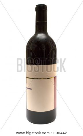 Bottle Of Red Wine W/ Blank Label (path Included)