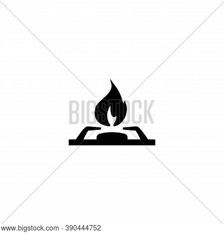 Gas Stove Icon. Gas Flame From The Stove Black Silhouette Isolated On A White Background. Illustrati