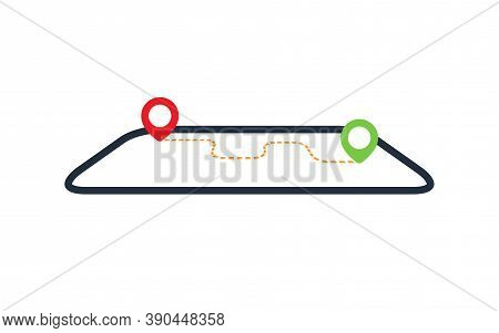 Gps Navigation. Map With Gps Navigation. Pin Location With Road. Vector Illustration